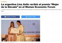"""La argentina Lina Anllo recibió el premio """"Mujer de la Década"""" en el Women Economic Forum"""