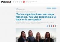 """""""En las organizaciones con cupo femenino, hay una tendencia a la baja en la corrupción"""""""